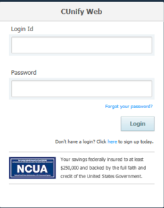 eTeller login form